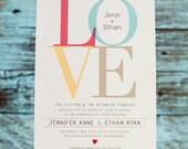 LOVE Wedding Invitation Set, modern wedding invitation, Engagement Party, Love Invitation & Rsvp Card, Printed Invitation or DIY Printable