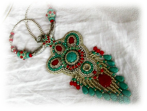 Bead Embroidery Necklace - Silver, turquoise, red  - OOAK - Nepal colors