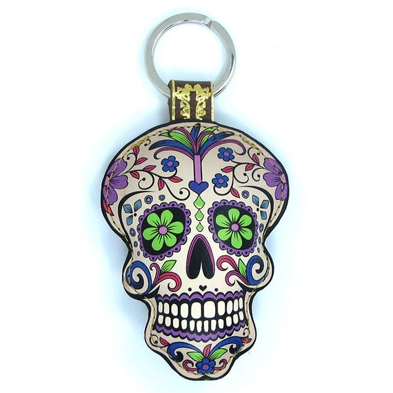Limited Edition Leather keychain -  Halloween / Day of the dead - Sugar skull