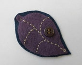Leaf Brooch, Blue and Purple, Lapel Pin for Teens and Women