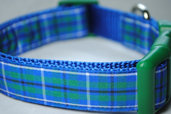 """Plaid - Blue, Green, White and Black  1"""" Wide Adjustable Dog Collar - Also available as a martingale"""