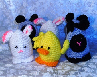 Pick 4 Four, Custom Crochet, Egg Cozy, Easter, Critters, Bunny, Chick, Duck, Lamb, Made to Order, Priority Shipping