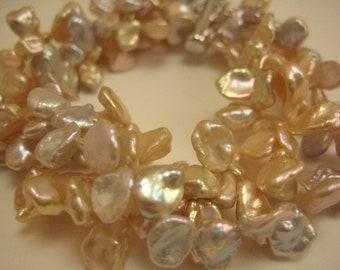 Cultured Freshwater Pearls Peach Bracelet Sterling Silver Saber Clasp, Keshi Pearls