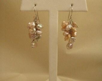 """Cultured Freshwater Pearl Earrings, Peach Pink,  Keshi Pearl, Sterling Silver Earring Findings,  1.75"""" Long"""