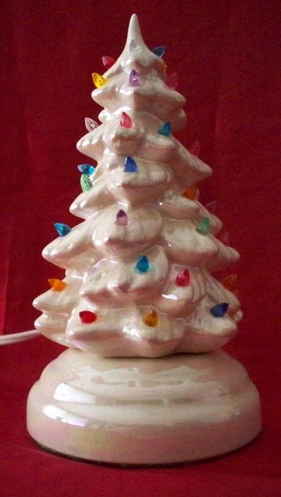Vintage Ceramic Mini Lighted Christmas Tree Multi Colored Bulbs