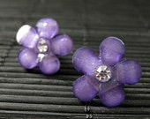 Purple Flower Earrings. Rhinestone Daisy Earrings in Purple on Bronze Stud Earrings. Handmade Jewelry.