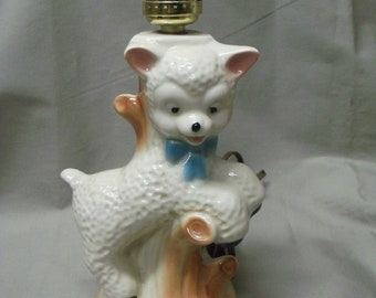 Vintage Baby Lamb Childs Table Lamp