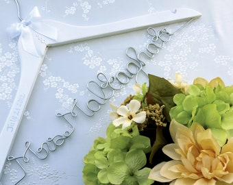 Wedding Dress Hanger with Swarovski Crystal Embellishments, Married Name Hanger, Personalized Hanger, Dress Hanger, Bride Hanger