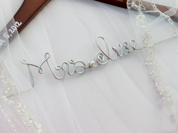 Wedding Dress Hangers for Bride and Bridal Party, Pearl Accent, Bride Hanger, Bridal Party Gift, Shower Gift, WALNUT