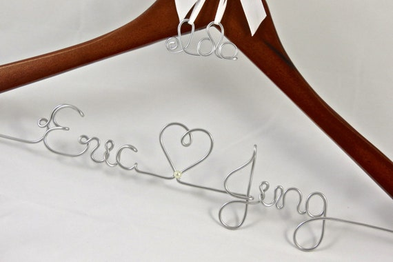 Wedding Hangers with Hanging Monogram or Heart Charm and Pearl Accent, Name Hanger, Wedding Gift