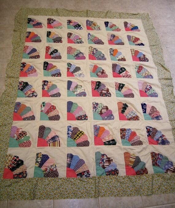 Grandmothers Fan Design Quilt top handstitched detail Patchwork bright colors