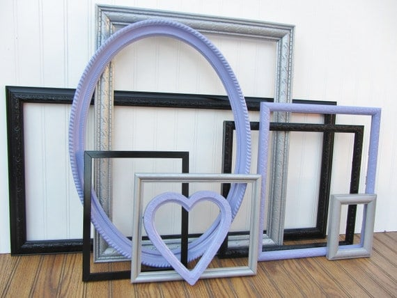 CLEARANCE Painted Frame Set of 9 Lilac Purple, Black, and Metallic Silver Upcycled Vintage Gallery Wall Frame Set SALE