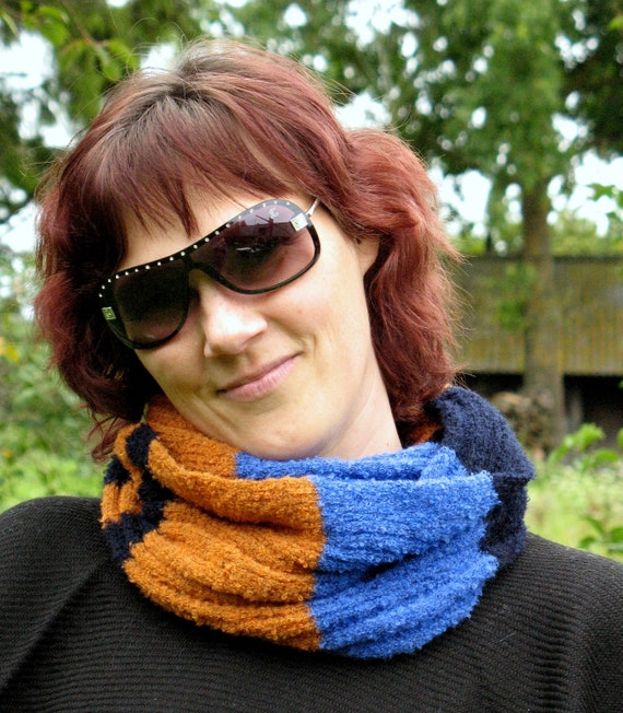 Blue Cornflower Black Orange Striped Infinity Scarf Cowl Wrap
