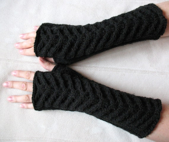 "Fingerless Gloves Mittens black 12"" Arm Warmers, Acrylic"