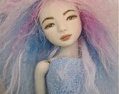 Reserved for Robin: Magenta and Multicolor Wig for OOAK Porcelain Doll