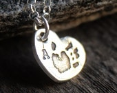 Handprint Footprint Pawprint Jewelry - Personalized Charm Necklace In Fine Silver
