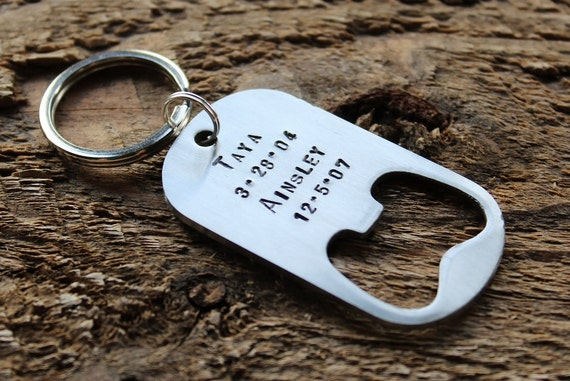 items similar to personalized bottle opener keychain hand stamped custom mens gift or wedding. Black Bedroom Furniture Sets. Home Design Ideas