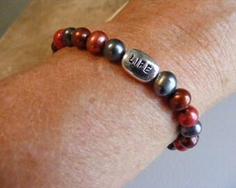 SALE...Was 9.75...Now 4.75...Vintage Colorful Pearl Bracelet  Lot 2146
