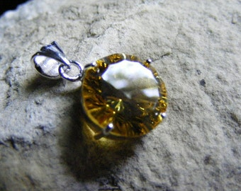 Vintage Canary Yellow CZ Pendant in SS  Lot 2346