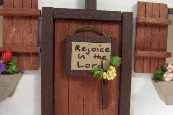 """Miniature Dollhouse Wall Sign, """"Rejoice in the Lord"""""""