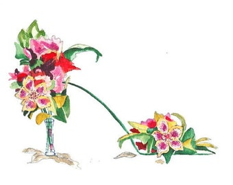 ACEO - Print Hellebores and Canna  Shoe -  Enhanced with Watercolor Paint and Signed on Back
