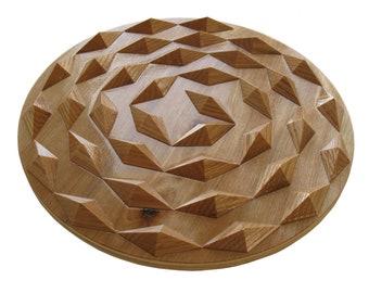 Spiral wood hot pad.  Round wooden trivet with wood spirals.  Woodwork centerpiece