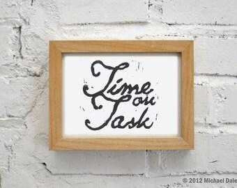 Time on Task Linocut - Motivation Inspiration Time Management