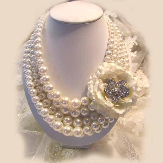 Bridal necklace, Bridal jewelry, pearl necklace,wedding jewelry, crystal,bridesmaid jewelry