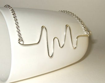 Heart Rate Necklace, Wire Jewelry, Heartbeat Necklace, Cardiac Monitor, Unusual Necklace, Silver Wire Jewelry, Wire Writing, Geeky Necklace