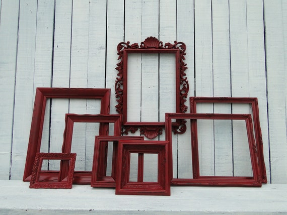 """Frame set collection gallery wall ornate shelf grouping red """"Big Red"""""""