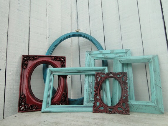 Empty Frame set collection shelf grouping gallery wall blue teal ...