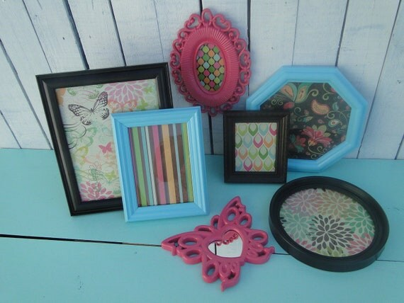 """Dorm or Nursery Picture Frame Set Collection Gallery Wall Modern cupcake aqua chocolate pink green red """"Retro Butterfly"""""""