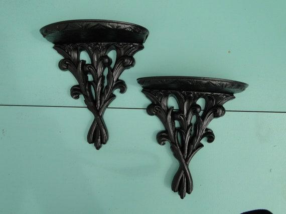 "Pair of Shelves ornate baroque Hollywood regency Paris apartment vintage large ""Bronze Ornate Shelves"""