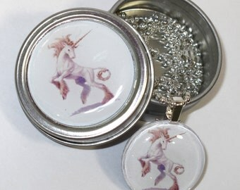 Unicorn necklace with matching gift tin