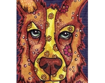 ACEO Original Collie Dog Colorful Mini Art, Jed