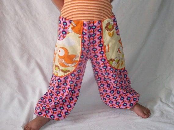 REtro Birds Trousers Terry 70s Fabric for Retro Girls Sz 4 T ( EU Sz 98)