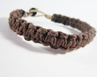 Mens Bracelet, GIft for men, Brown Bracelet, Boyfriend Gift, Husband Gift, Mens Gift, Thick Brown Hemp Bracelet, GIft for him, Mens Jewelry