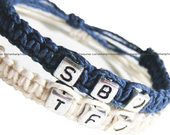 ONE DAY SALE Adjustable Bracelets, Couples Bracelets, Wedding Gift, Heart Bead, Blue and White Hemp Bracelets, Set of 2