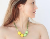 Yellow Green Balls Necklace Knitted Vintage Button Lemon Lime Green Dandelion Yellow