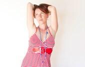 Blue Red White Necklace Marine Nautical Navy Blue Red White Sailor Knitted Necklace
