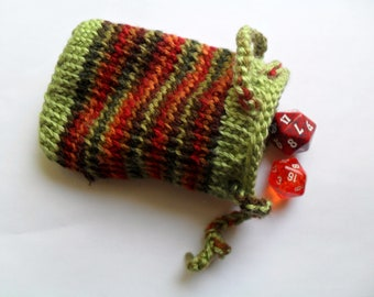 Knitted fall colours pouch / dice bag