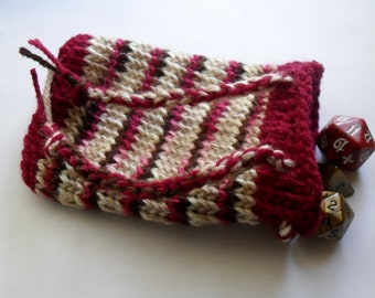 Knitted  cherry tree pouch / dice bag