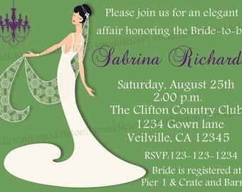 Elegant Gown Bridal Shower Invitation Print Your Own 5x7 or 4x6