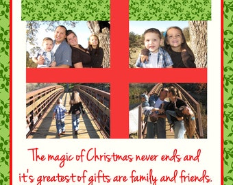 Christmas Card with 4 Photos Gift Print Your Own 5x7 or 4x6