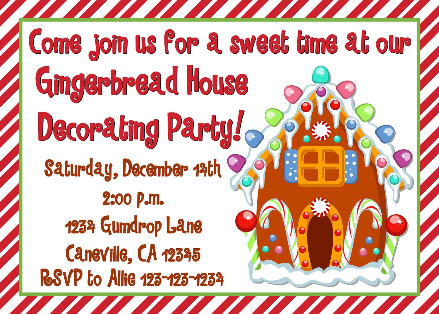 Gingerbread house decorating party invitation print your own Gingerbread house decorating party invitations