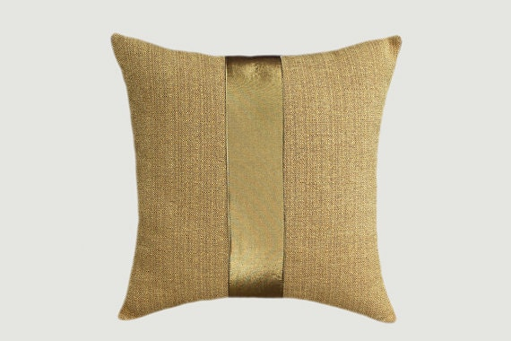 Honey Gold Throw Pillow : Honey color with gold accent Decorative fabric Throw pillow