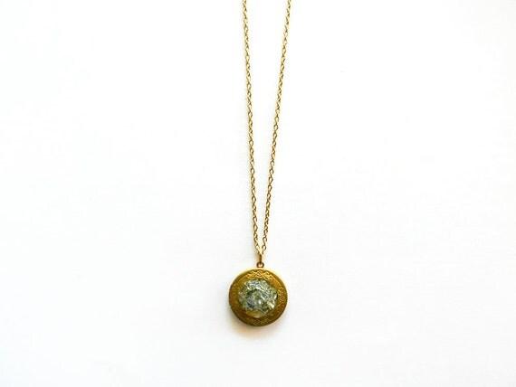 Raw Crystal Locket Necklace - Aqua Blue Titanium Aura Quartz - Crushed Gemstone Cluster, Mineral Rock, Gold Chain, Fall Fashion