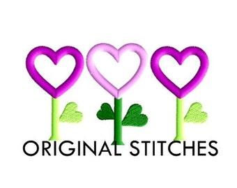Heart Flower Trio Applique and Machine Embroidery Digital Design File 4x4 5x7 6x10
