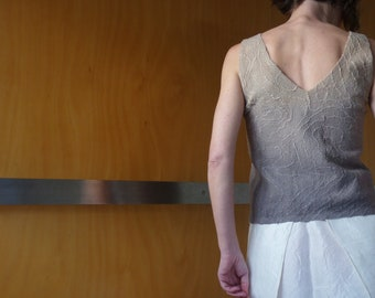 Grey tank top, nuno felted, size XS, natural designer clothing, eco friendly clothing, funky women's clothing