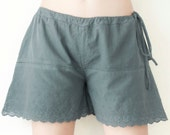 Sale.. Women Drawstring Shorts with Embroidered Rose in Dark Gray